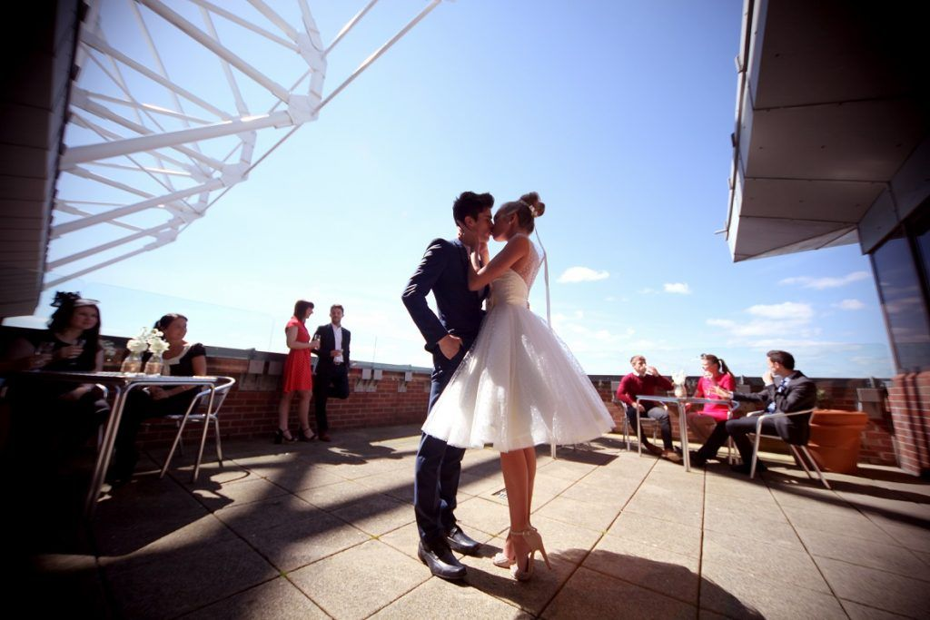 Stadium of Light Wedding Riverview Balcony Bride and Groom